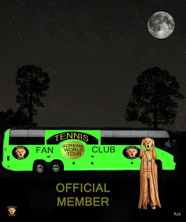 Scream World Tour Poster featuring the mixed media The Scream World Tour Tennis Tour Bus by Eric Kempson