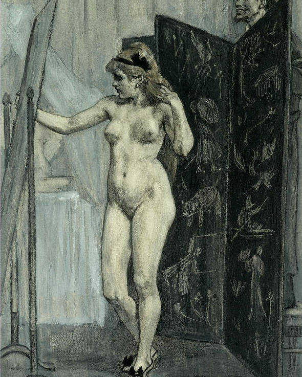 Felicien Rops Poster featuring the drawing The Screen by Felicien Rops