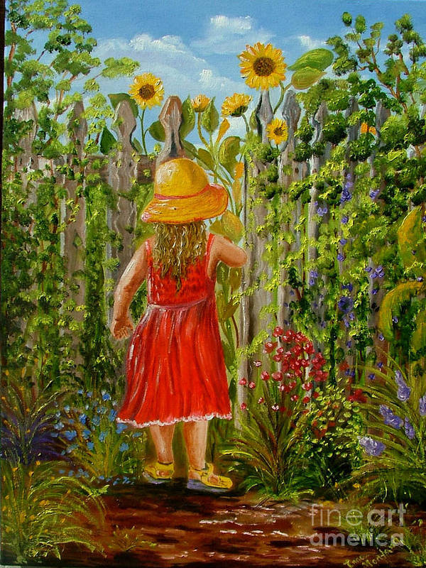 Girl Poster featuring the painting The Secret Garden by Inna Montano