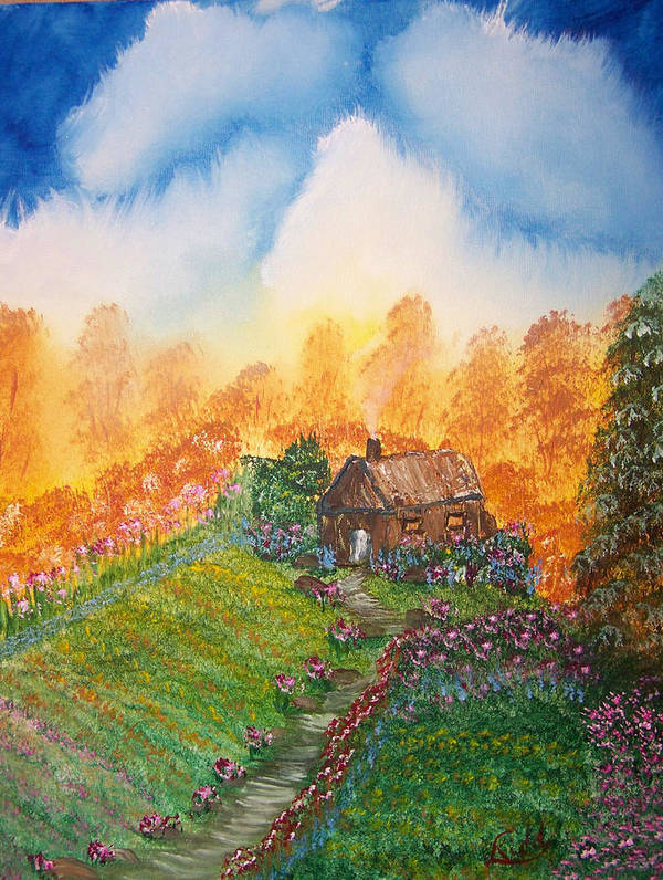 Cabin Poster featuring the painting The Secret Place by Laurie Kidd
