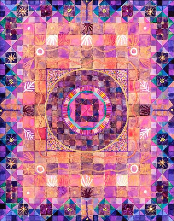 Mystical Mandala In Violets And Purples Describing Esoteric Secrets. Poster featuring the painting The Seventh Ray by Sandy Thurlow