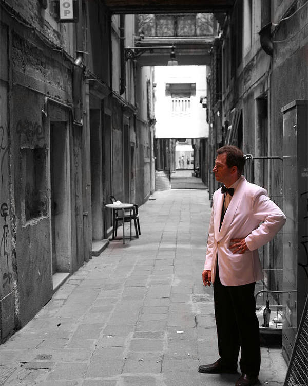 Venice Poster featuring the photograph The Smoking Man In Venice by Greg Sharpe