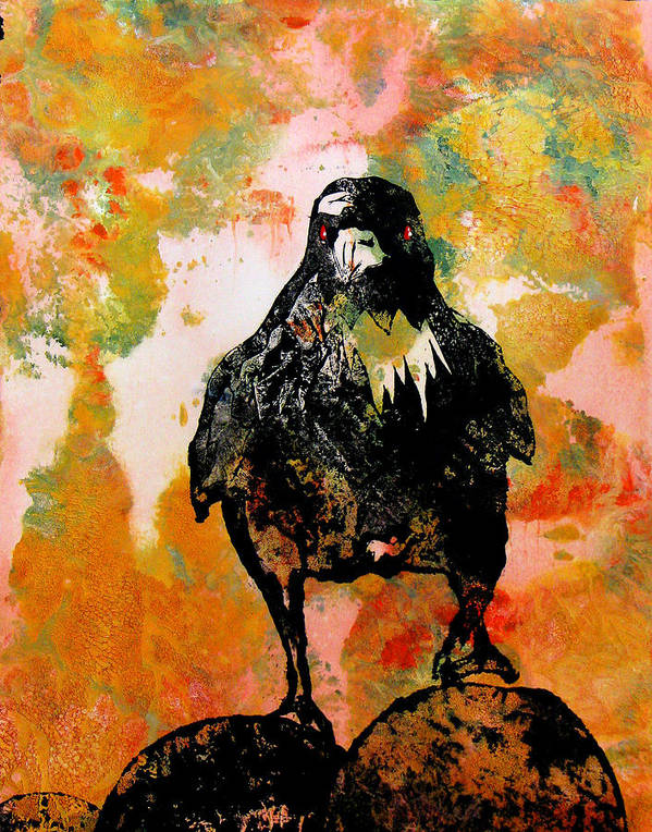 Raven Poster featuring the painting The Stillness Broken by Sandy Applegate