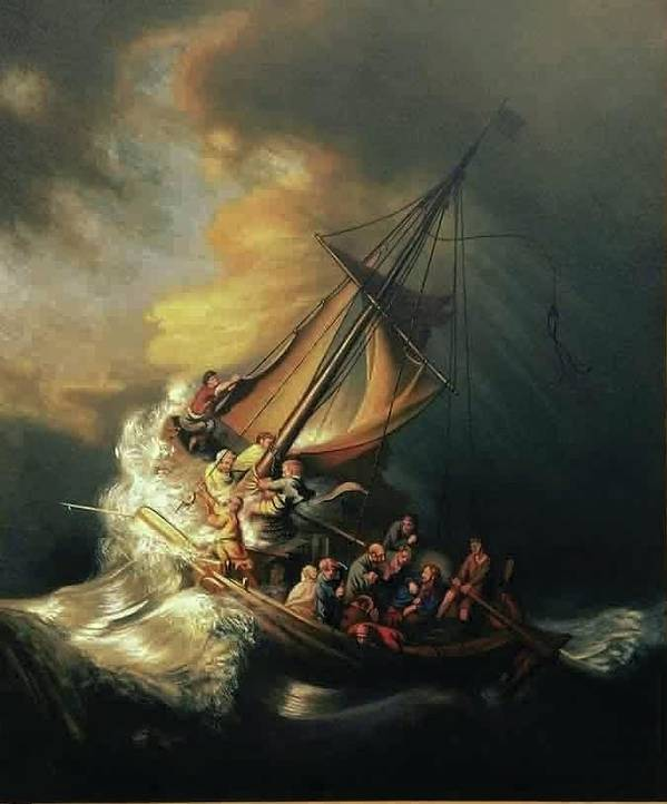 The storm on the sea of galilee 1633 by rembrandt poster by william painting poster featuring the painting the storm on the sea of galilee 1633 by rembrandt by publicscrutiny