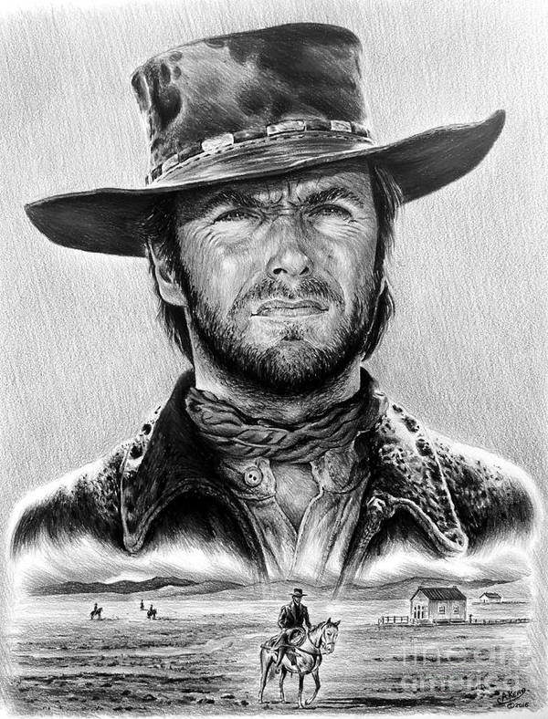 Clint Eastwood Poster featuring the drawing The Stranger Bw 1 Version by Andrew Read