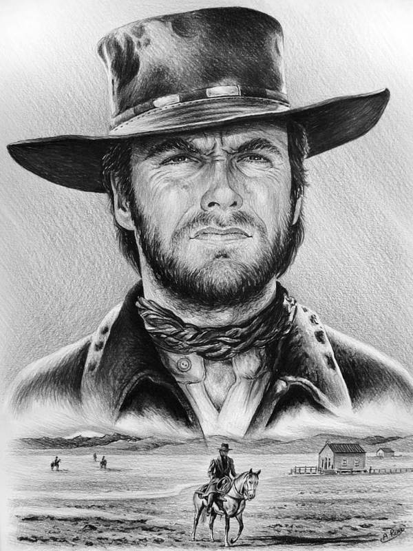 Clint Eastwood Poster featuring the painting The Stranger Bw 2 Version by Andrew Read