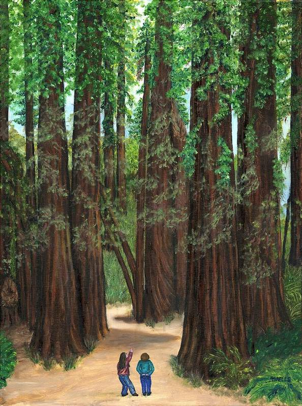 Redwoods Poster featuring the painting The Tall and Not to be Cut by Tanna Lee M Wells