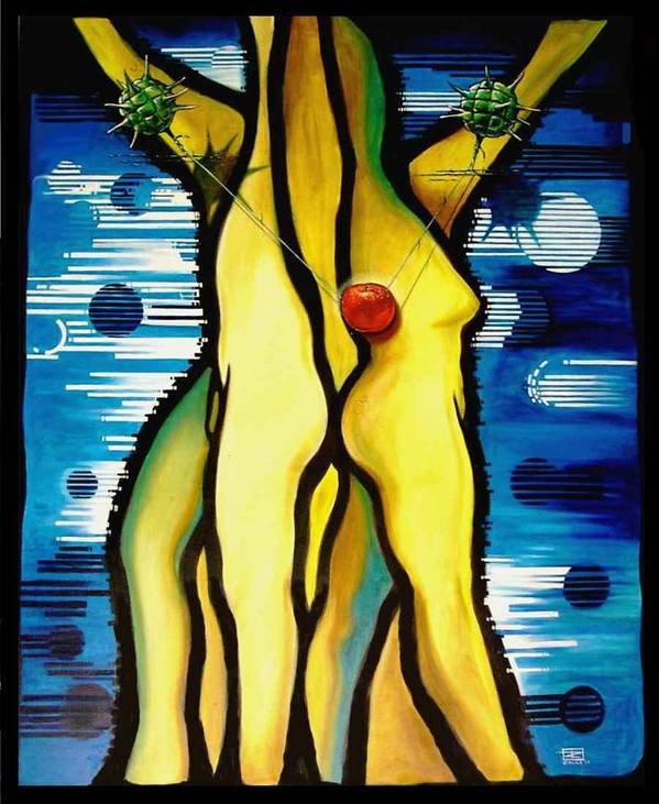 Apple Poster featuring the painting The Temptation by Roger Calle