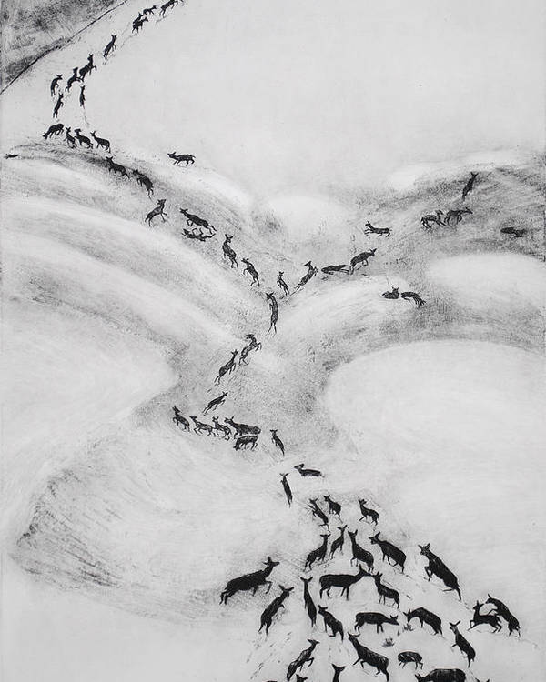 Deer Poster featuring the drawing The Terrible Winter - Migration by Dawn Senior-Trask