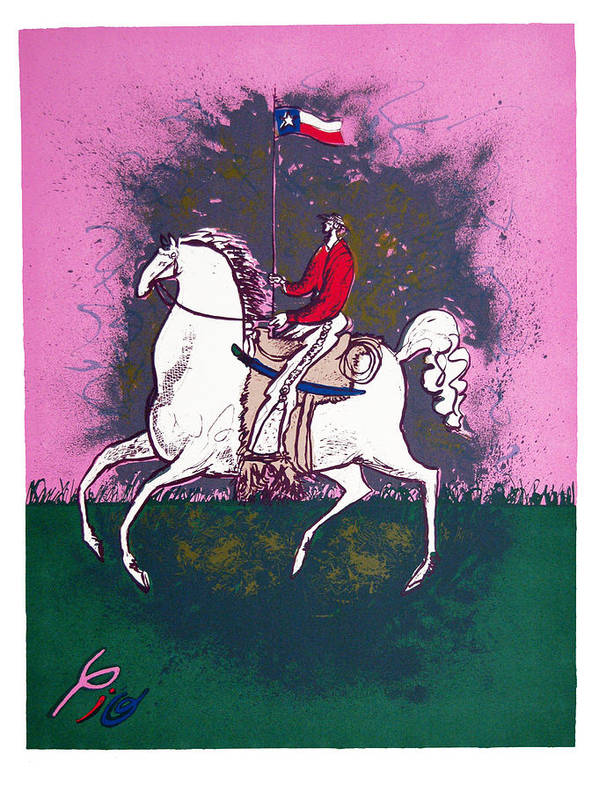 Pio Pulido Poster featuring the print The Texan by Pio Pulido