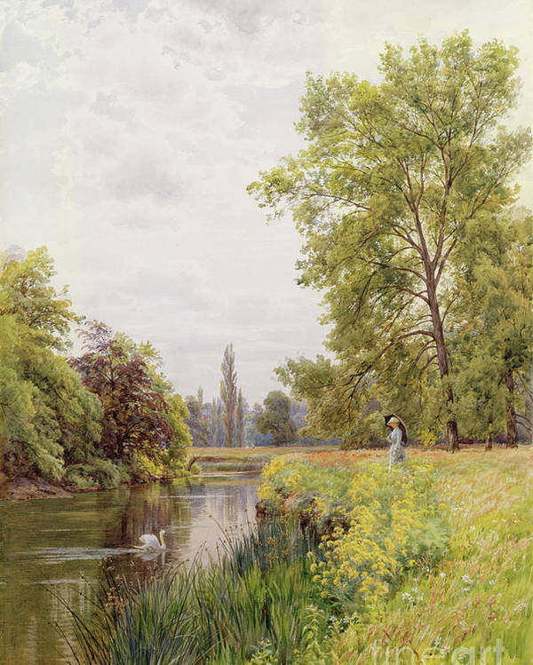 The Thames At Purley Poster featuring the painting The Thames At Purley by William Bradley