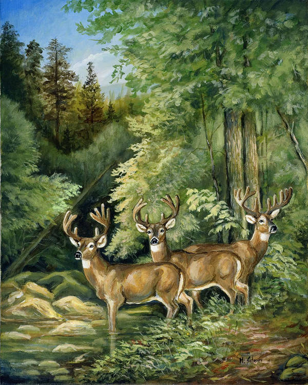 Nature Poster featuring the painting The Three Bachelors by Michael Scherer