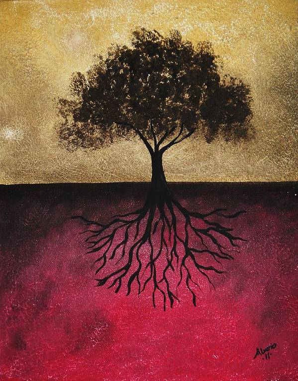 Black Poster featuring the painting The Tree Of Life by Edwin Alverio