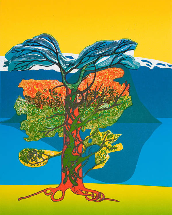 Landscape Poster featuring the mixed media The Tree Of Life. From The Viking Saga. by Jarle Rosseland
