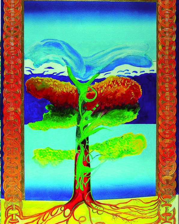 Myth/landscape Poster featuring the painting The Tree Of Life. Norse Mythology. by Jarle Rosseland
