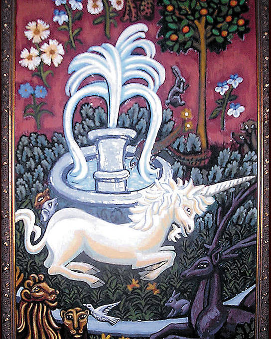 Unicorn Tapestries Poster featuring the painting The Unicorn And Garden by Genevieve Esson