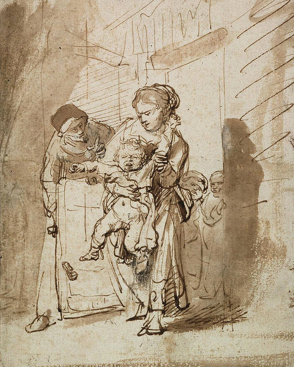 Rembrandt Poster featuring the drawing The Unruly Child by Rembrandt