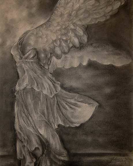 Nike Poster featuring the drawing The Victory of Samothrace by Julianna Ziegler