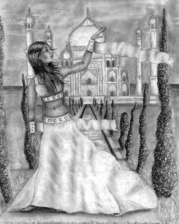 Taj Mahal Poster featuring the drawing The View by Scarlett Royal