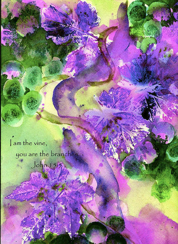 Scripture Poster featuring the painting The Vine by Anne Duke