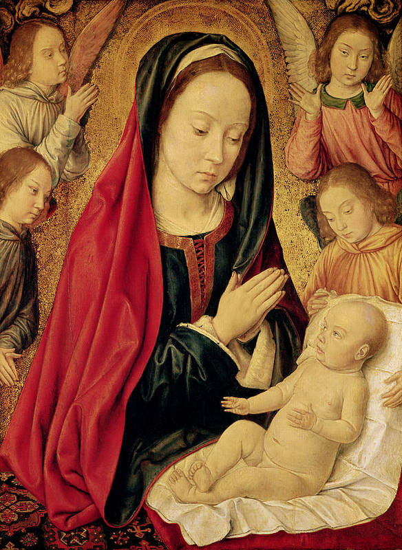 The Poster featuring the painting The Virgin And Child Adored By Angels by Jean Hey