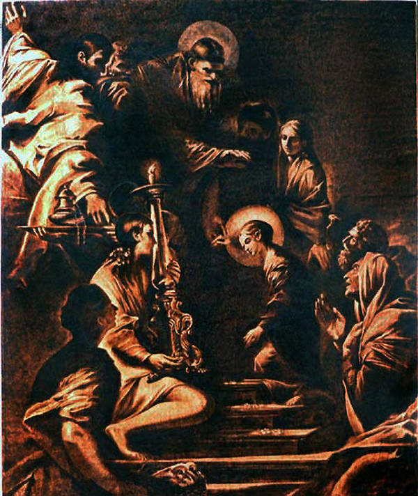 Dino Muradian Poster featuring the pyrography The Virgin Entering The Temple by Dino Muradian