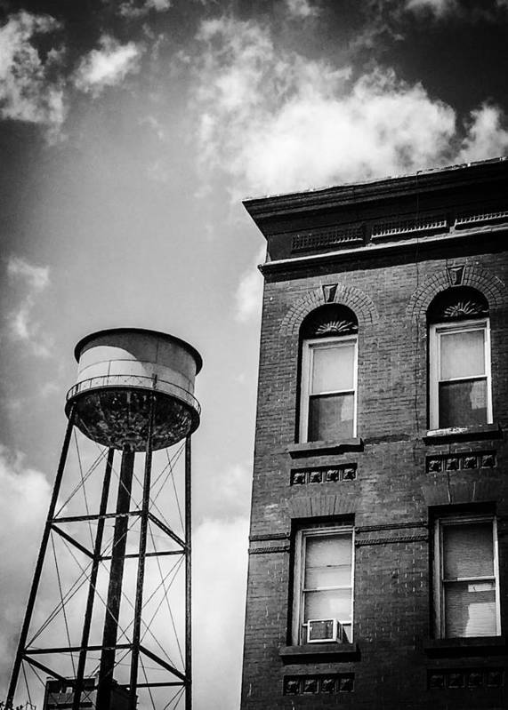 Black And White Poster featuring the photograph The Watertower by Mike Rose