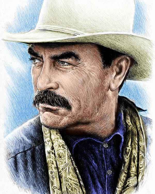Tom Selleck Poster featuring the drawing The Western Collection Monty Walsh  by Andrew Read 522a33bf8a40
