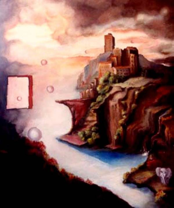 Surreal Poster featuring the painting The Window by Jordana Sands