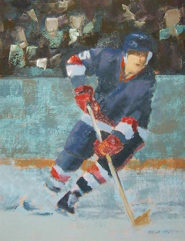 Sports Portrait Poster featuring the painting The Winger by Ernie Ferguson