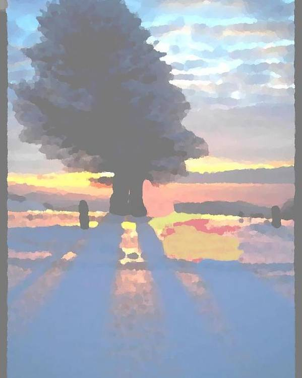 Sky.clouds.winter.sunset.snow.shadow.sunrays.evening Light.tree.far Forest. Poster featuring the digital art The Winter Lonely Tree by Dr Loifer Vladimir