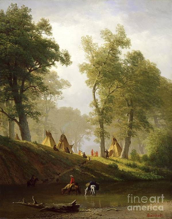 The Poster featuring the painting The Wolf River - Kansas by Albert Bierstadt