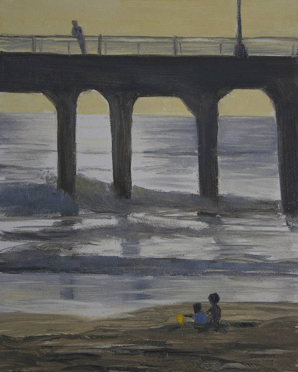 Ocean Poster featuring the painting The Yellow Bucket by Joe Mancuso