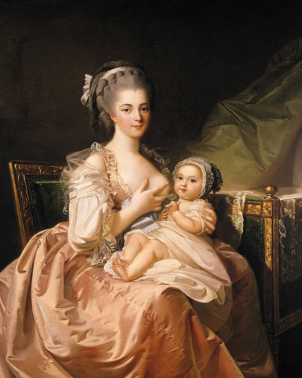 The Poster featuring the painting The Young Mother by Jean Laurent Mosnier