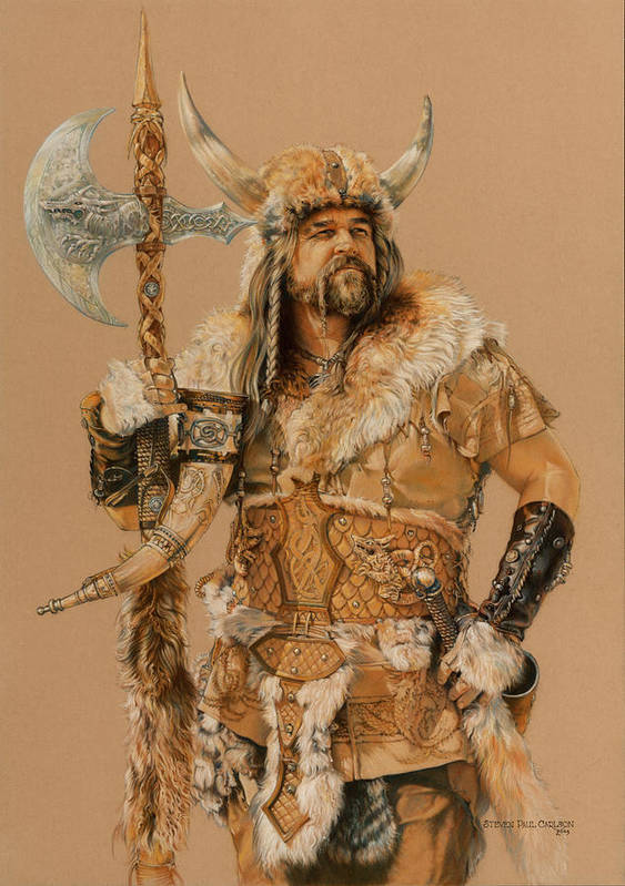 Viking Poster featuring the painting The Young Son Of Bor by Steven Paul Carlson