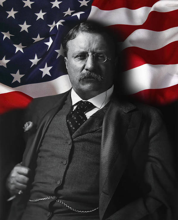 teddy Roosevelt Poster featuring the digital art Theodore Roosevelt 26th President Of The United States by Daniel Hagerman