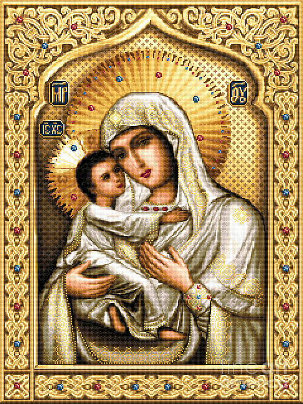 Theotokos Tenderness Orthodox Icon Needlework Cross Stitch Poster featuring the tapestry - textile Theotokos Of Tenderness by Stoyanka Ivanova