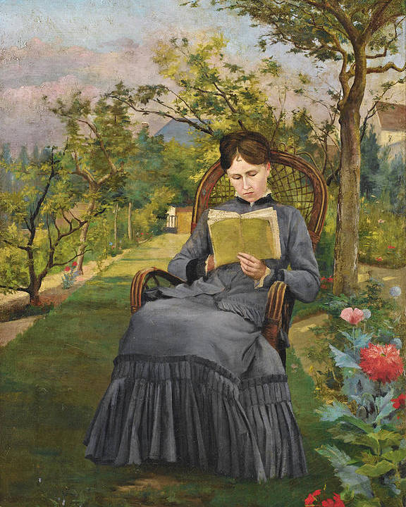 Frederic Bazille Poster featuring the painting Therese Reading In The Park Of Meric by Frederic Bazille