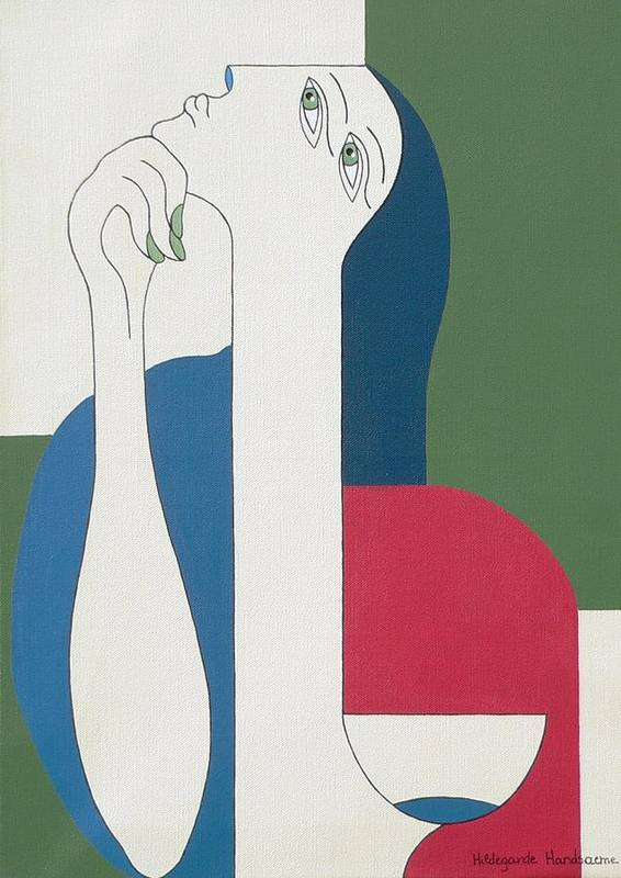 Modern Special Women Bleu Red Green Poster featuring the painting Thinking by Hildegarde Handsaeme