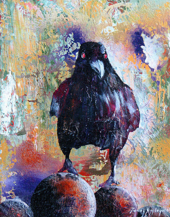 Raven Poster featuring the painting This Ebony Bird by Sandy Applegate