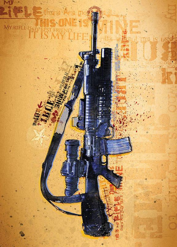 War Poster featuring the drawing This Is My Rifle Riflemans Creed by Jeff Steed
