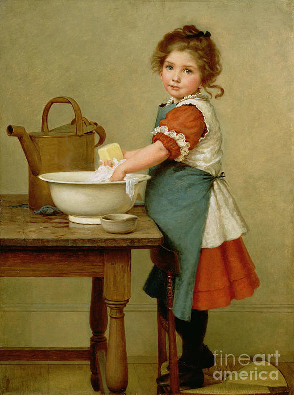 This Is The Way We Wash Our Clothes (oil On Canvas) By George Dunlop Leslie (1835-1921) Learning; Mother; Teaching;child; Washing; Laundry; Girl; Basin; Scrubbing; Chore; Domestic Scene; Soap; Watering Can; Apron; Girl Poster featuring the painting This Is The Way We Wash Our Clothes by George Dunlop Leslie