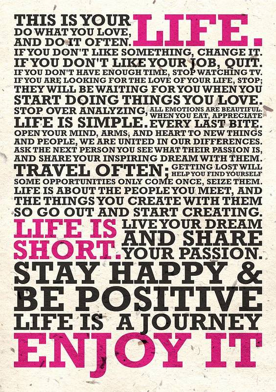 This Is Your Life Do What You Love Inspirational Quotes Poster Unique This Is Your Life Quote Poster
