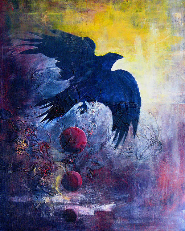 Raven Poster featuring the painting This Mystery Explore by Sandy Applegate