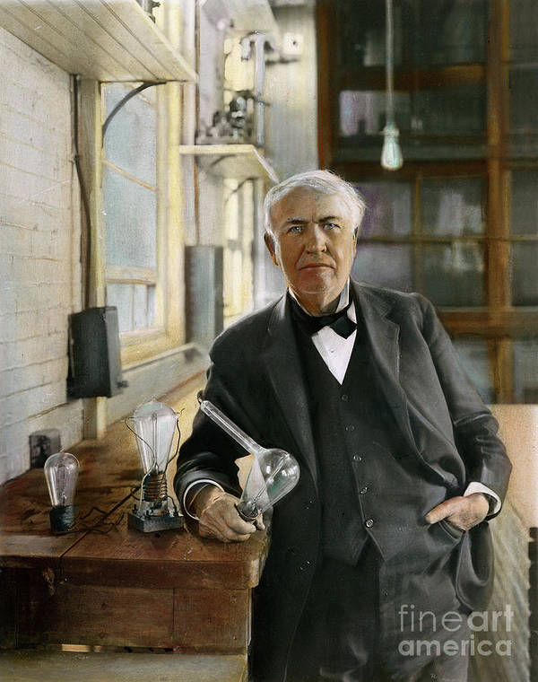 1915 Poster featuring the photograph Thomas Edison by Granger