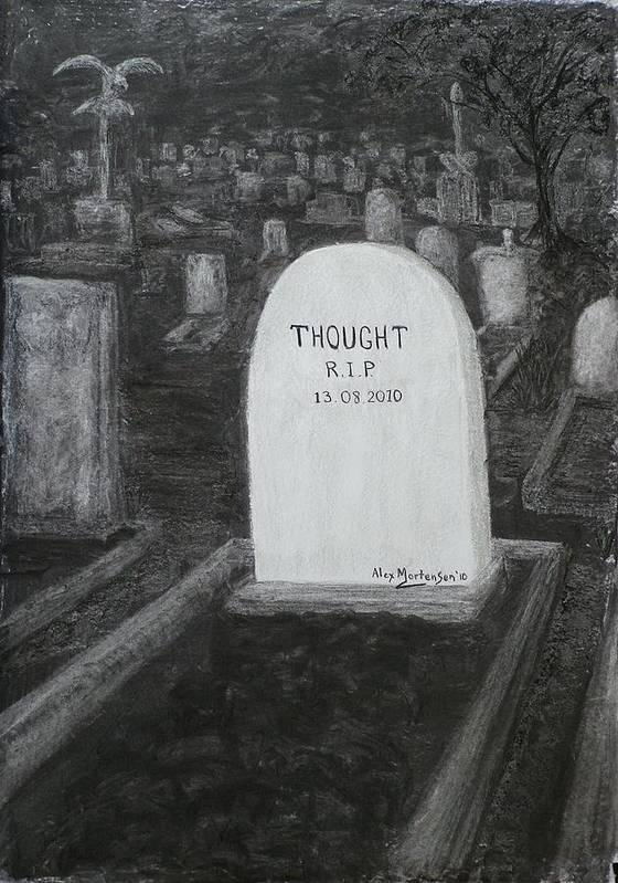 Conceptual Poster featuring the drawing Thoughts Silent As The Grave by Alex Mortensen