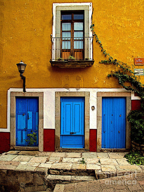 Darian Day Poster featuring the photograph Three Blue Doors 2 by Mexicolors Art Photography