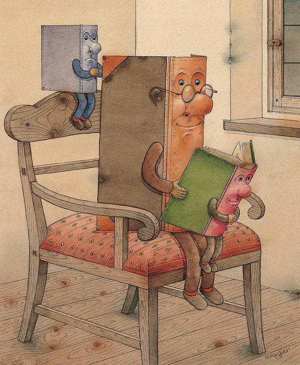 Books Poster featuring the painting Three Books by Kestutis Kasparavicius