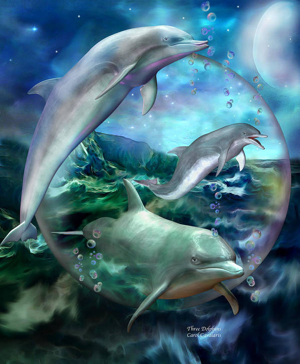 Dolphin Poster featuring the mixed media Three Dolphins by Carol Cavalaris