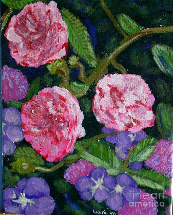 Roses Poster featuring the painting Three For The Show by Laurie Morgan
